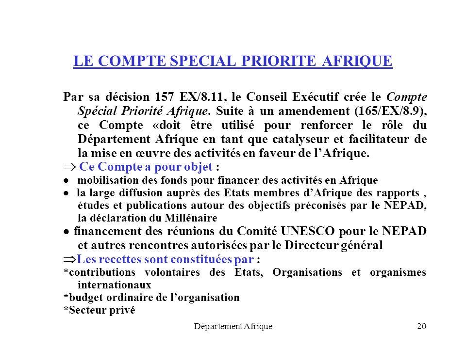 Département Afrique20 LE COMPTE SPECIAL PRIORITE AFRIQUE Par sa décision 157 EX/8.11, le Conseil Exécutif crée le Compte Spécial Priorité Afrique. Sui