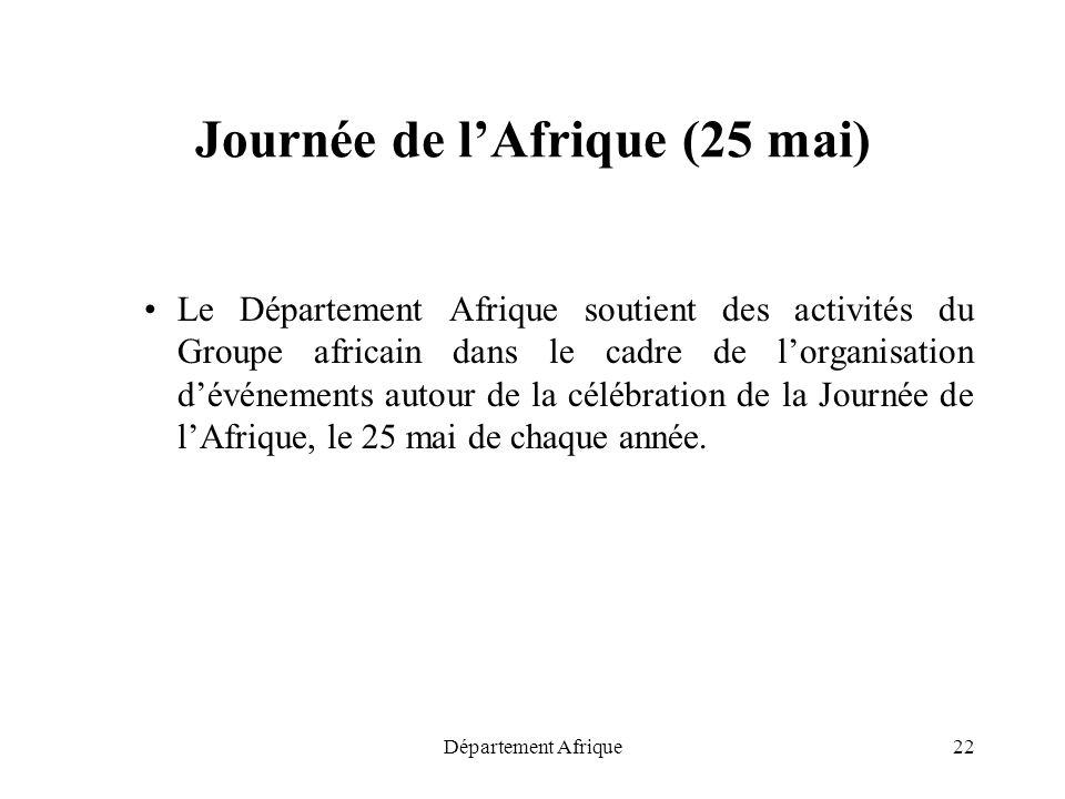 Département Afrique22 Journée de lAfrique (25 mai) Le Département Afrique soutient des activités du Groupe africain dans le cadre de lorganisation dév