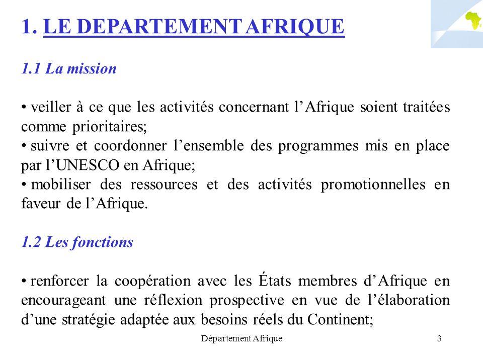 Département Afrique3 1. LE DEPARTEMENT AFRIQUE 1.1 La mission veiller à ce que les activités concernant lAfrique soient traitées comme prioritaires; s