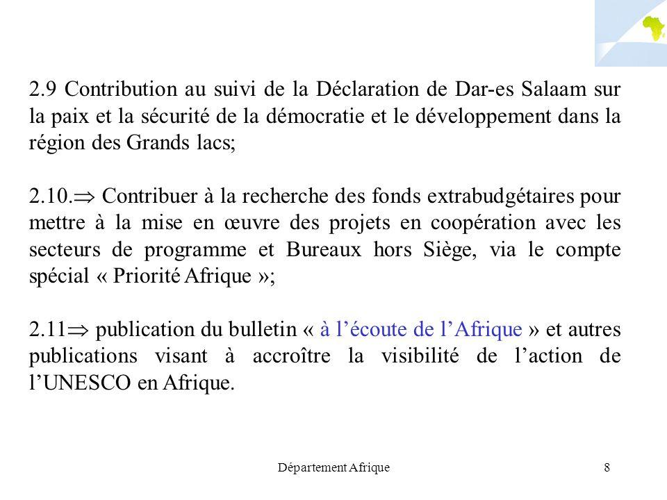 Département Afrique8 2.9 Contribution au suivi de la Déclaration de Dar-es Salaam sur la paix et la sécurité de la démocratie et le développement dans