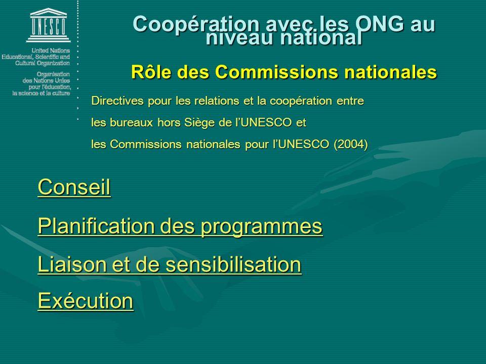 Coopération avec les ONG au niveau national Rôle des Commissions nationales Directives pour les relations et la coopération entre les bureaux hors Siè