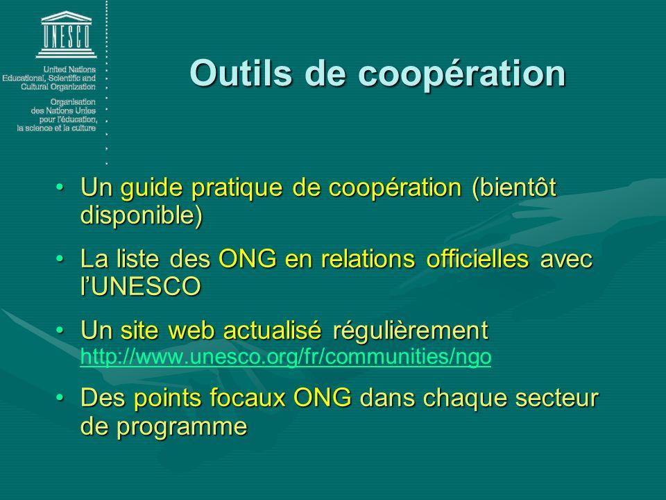 Un guide pratique de coopération (bientôt disponible)Un guide pratique de coopération (bientôt disponible) La liste des ONG en relations officielles a