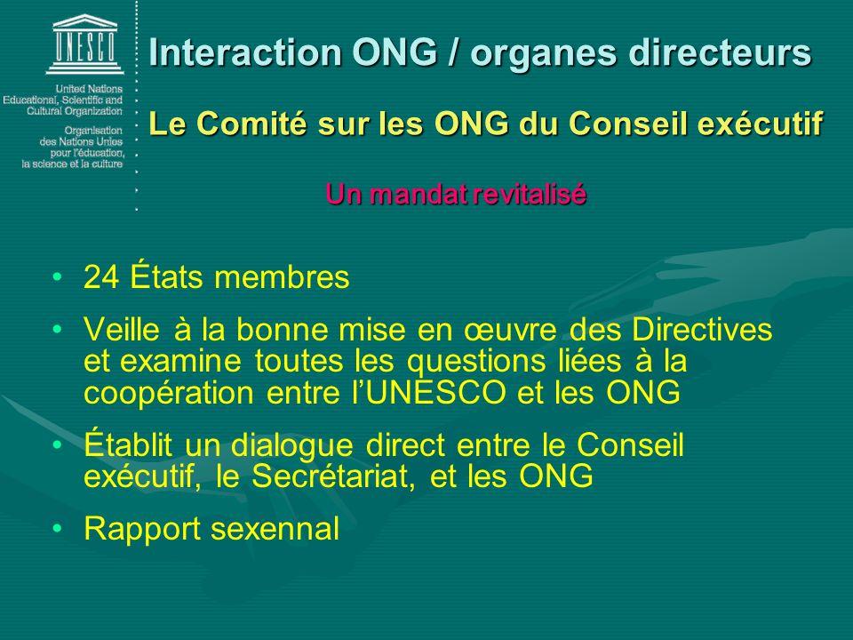 24 États membres Veille à la bonne mise en œuvre des Directives et examine toutes les questions liées à la coopération entre lUNESCO et les ONG Établi