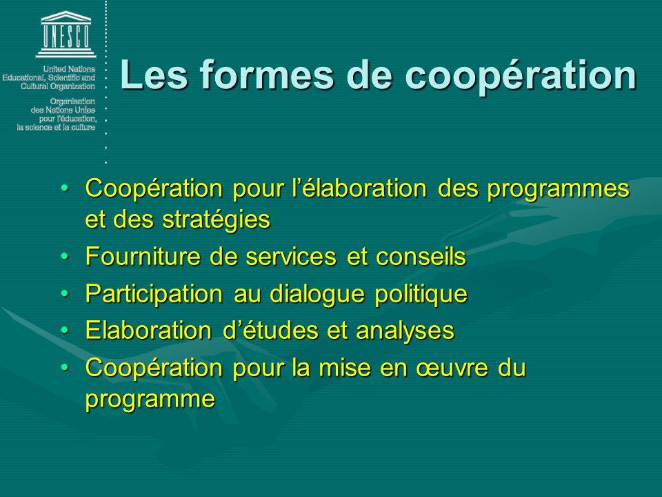 Coopération pour lélaboration des programmes et des stratégiesCoopération pour lélaboration des programmes et des stratégies Fourniture de services et