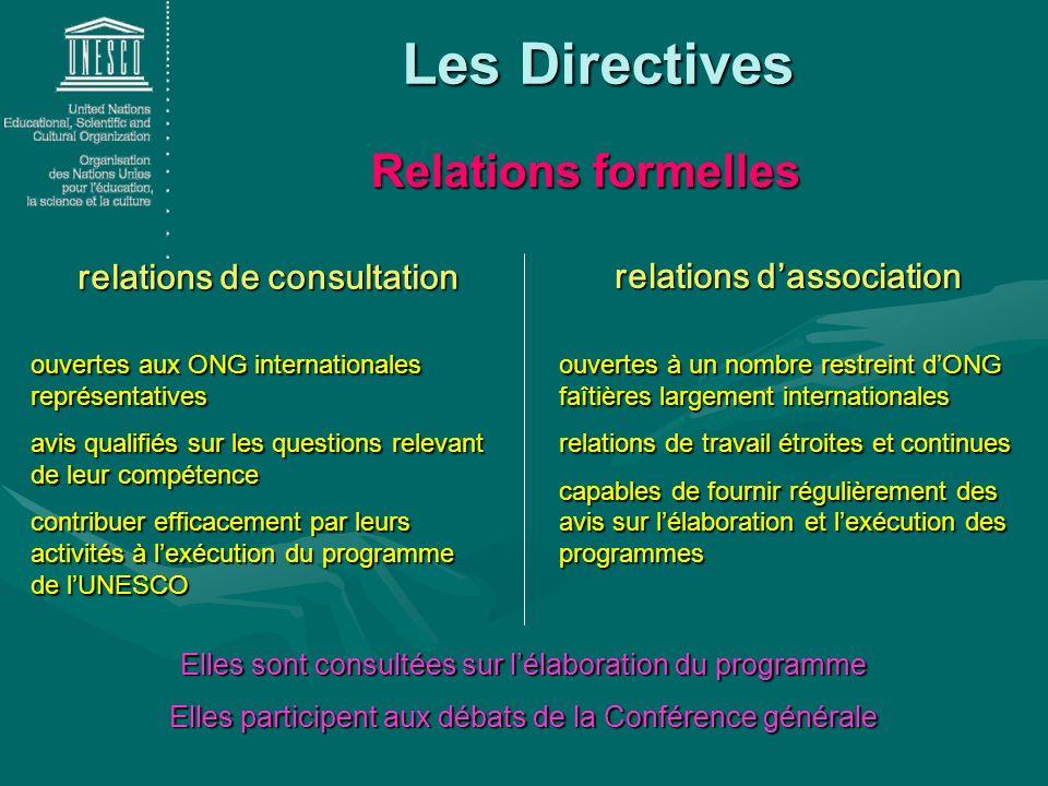 Les Directives relations de consultation relations dassociation ouvertes à un nombre restreint dONG faîtières largement internationales relations de t