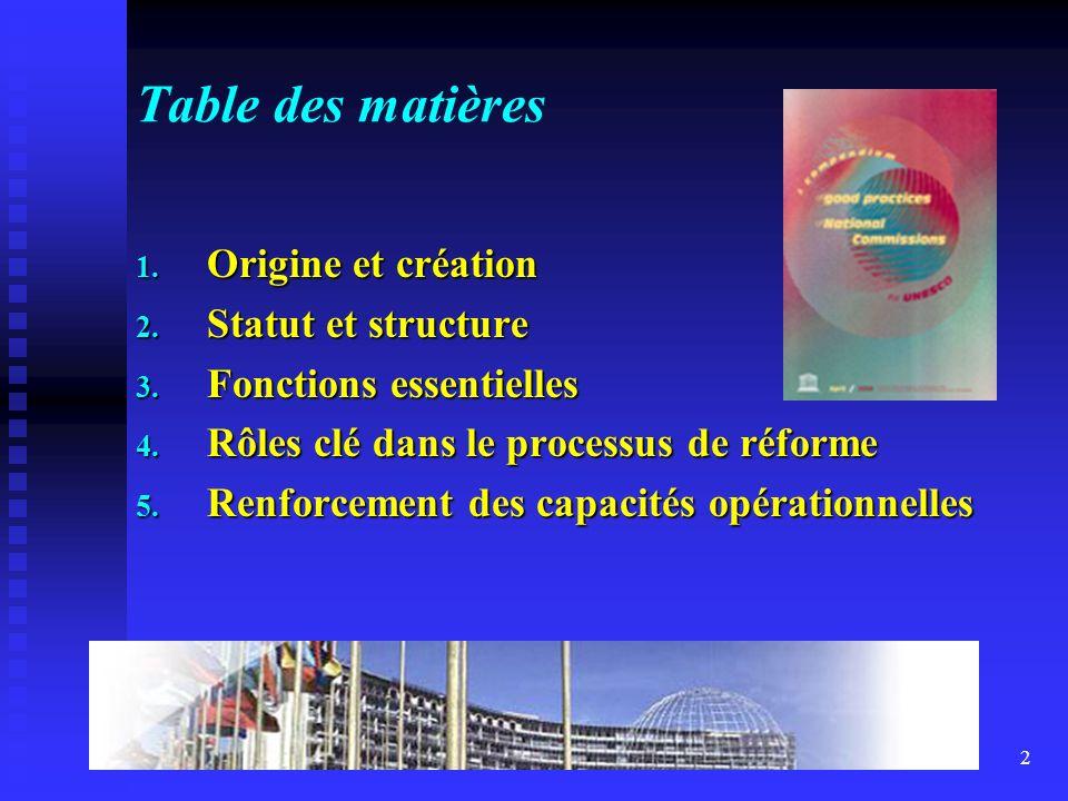 2 Table des matières 1. Origine et création 2. Statut et structure 3.