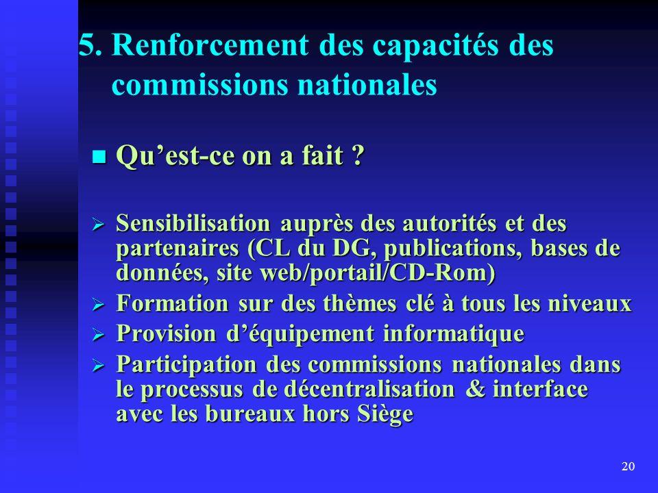 20 5. Renforcement des capacités des commissions nationales Quest-ce on a fait .