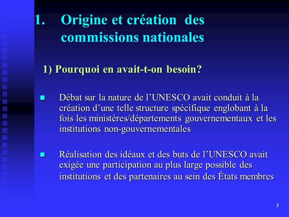 3 1.Origine et création des commissions nationales 1) Pourquoi en avait-t-on besoin.