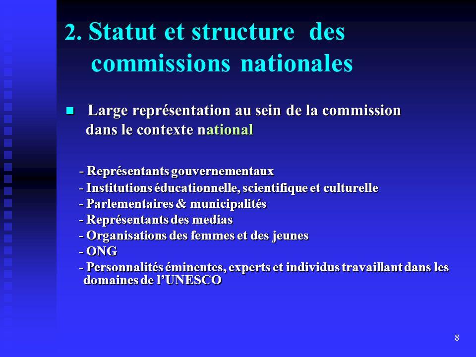 8 2. Statut et structure des commissions nationales Large représentation au sein de la commission Large représentation au sein de la commission dans l