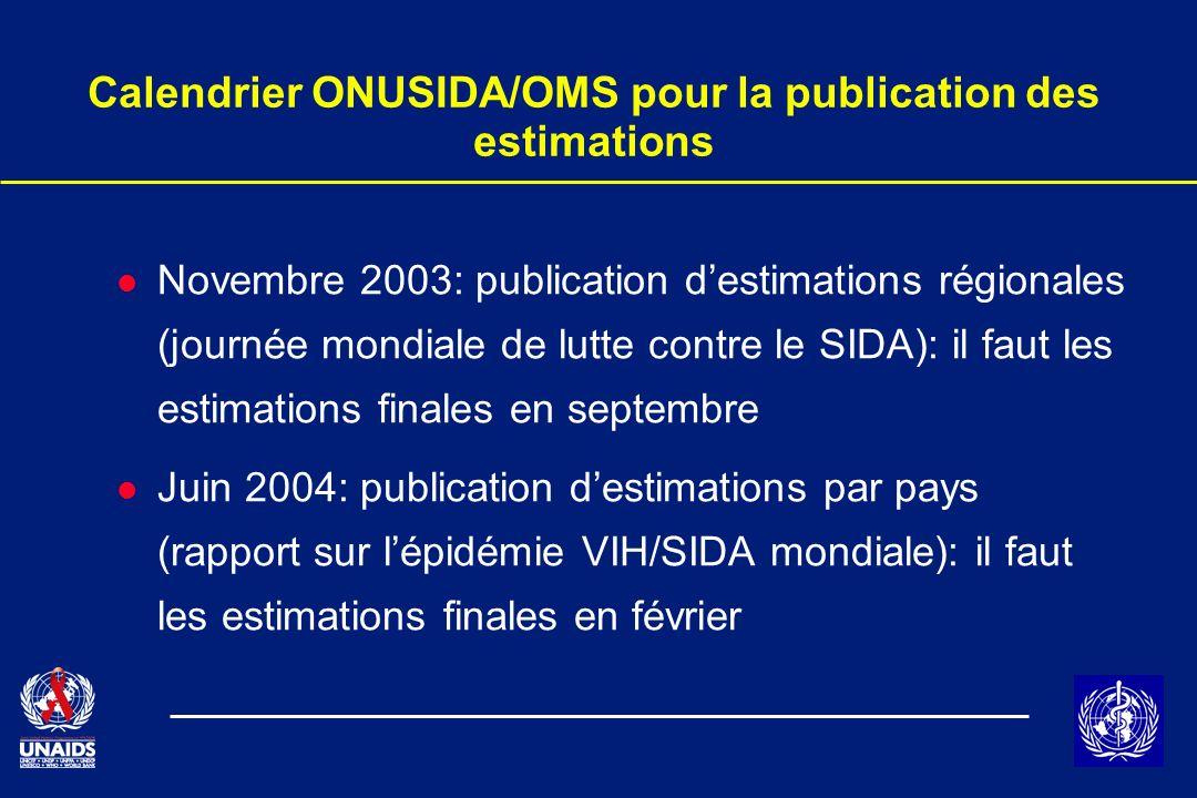 Calendrier ONUSIDA/OMS pour la publication des estimations l Novembre 2003: publication destimations régionales (journée mondiale de lutte contre le S