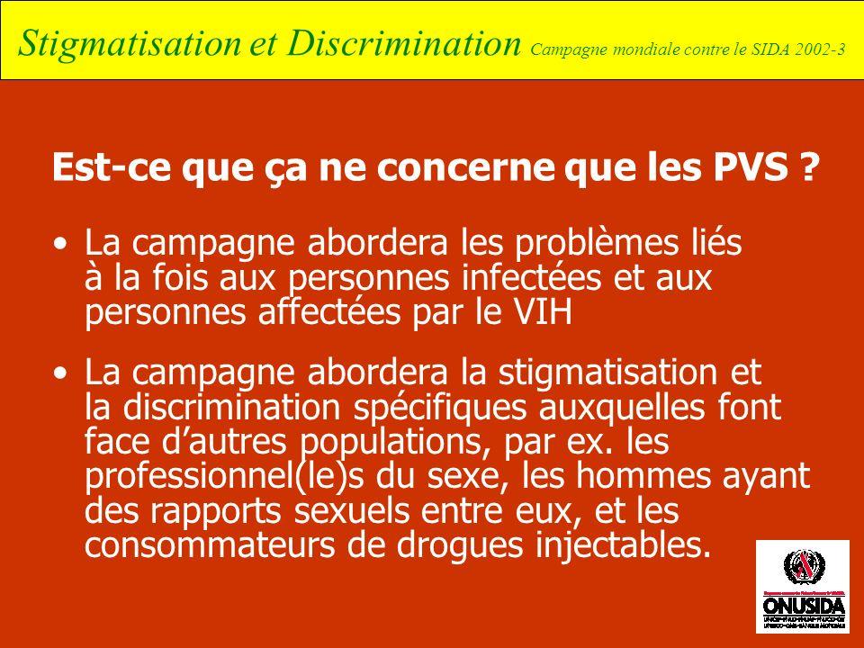 Stigmatisation et Discrimination Campagne mondiale contre le SIDA 2002-3 Est-ce que ça ne concerne que les PVS ? La campagne abordera les problèmes li