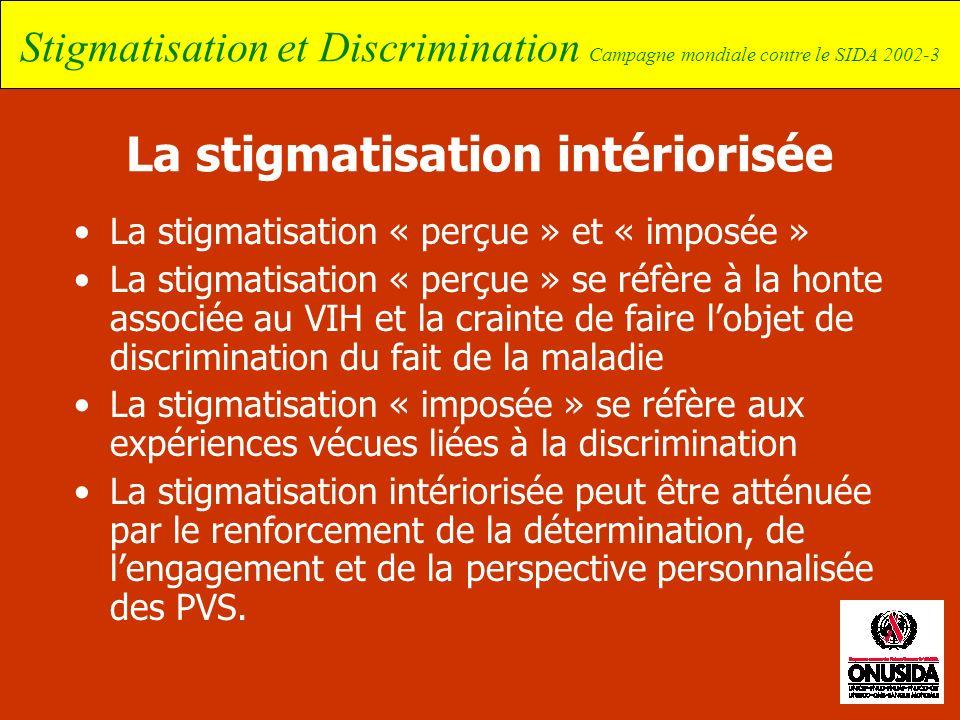 Stigmatisation et Discrimination Campagne mondiale contre le SIDA 2002-3 La stigmatisation intériorisée La stigmatisation « perçue » et « imposée » La