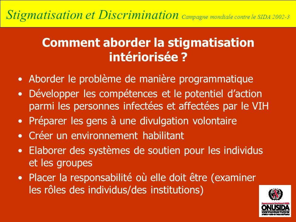 Stigmatisation et Discrimination Campagne mondiale contre le SIDA 2002-3 Comment aborder la stigmatisation intériorisée ? Aborder le problème de maniè