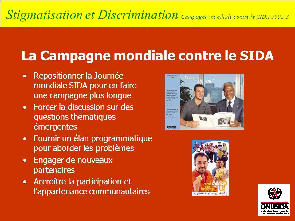 Stigmatisation et Discrimination Campagne mondiale contre le SIDA 2002-3 La Campagne mondiale contre le SIDA Repositionner la Journée mondiale SIDA po