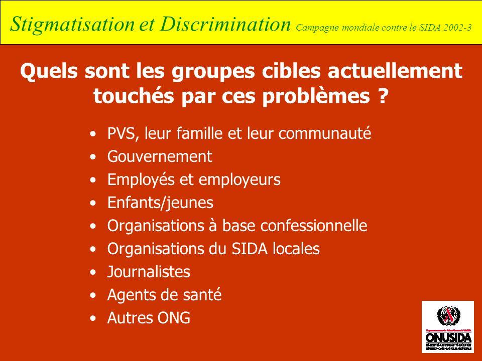 Stigmatisation et Discrimination Campagne mondiale contre le SIDA 2002-3 Quels sont les groupes cibles actuellement touchés par ces problèmes ? PVS, l