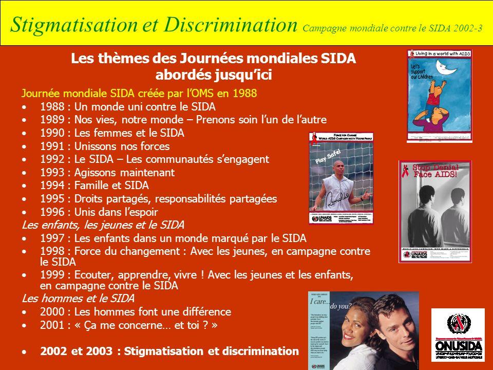 Stigmatisation et Discrimination Campagne mondiale contre le SIDA 2002-3 Les thèmes des Journées mondiales SIDA abordés jusquici Journée mondiale SIDA