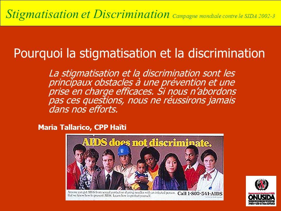Stigmatisation et Discrimination Campagne mondiale contre le SIDA 2002-3 Pourquoi la stigmatisation et la discrimination La stigmatisation et la discr