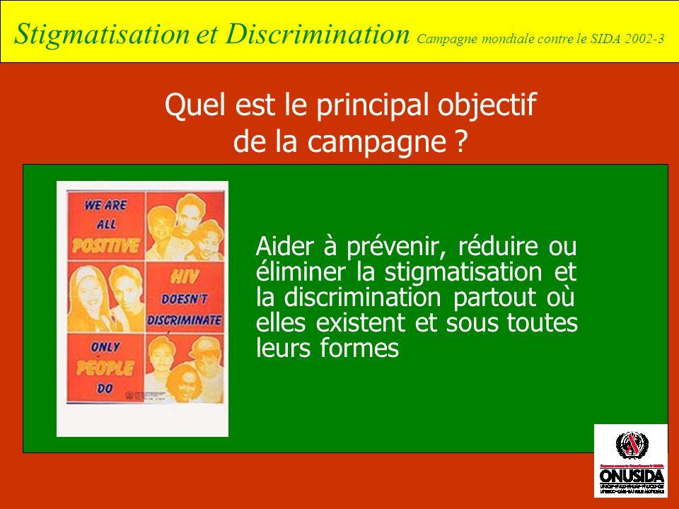 Stigmatisation et Discrimination Campagne mondiale contre le SIDA 2002-3 Quel est le principal objectif de la campagne ? Aider à prévenir, réduire ou