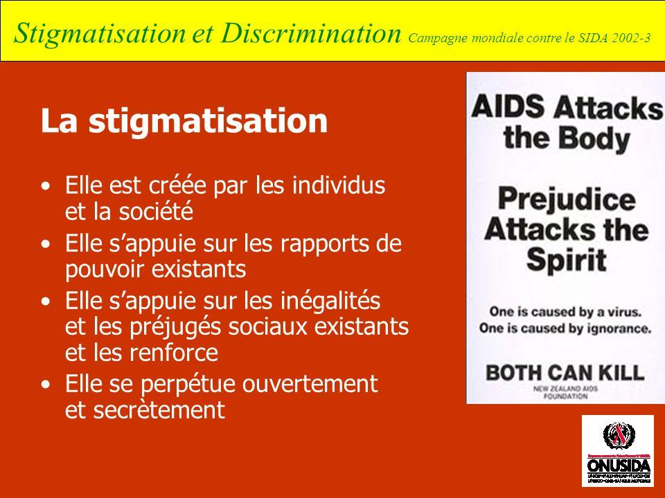 Stigmatisation et Discrimination Campagne mondiale contre le SIDA 2002-3 La stigmatisation Elle est créée par les individus et la société Elle sappuie