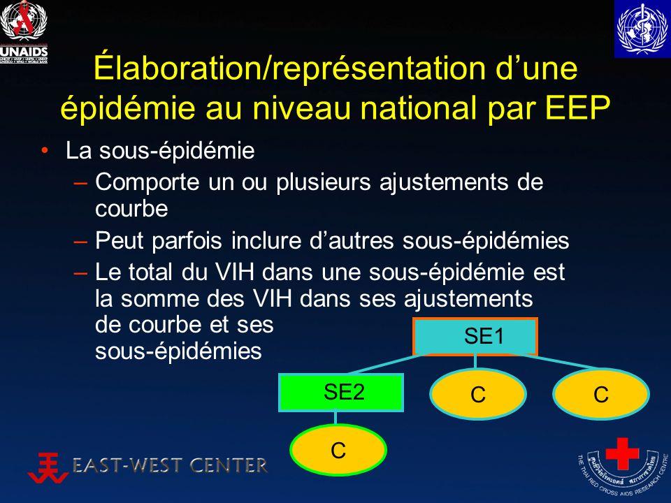 Élaboration/représentation dune épidémie au niveau national par EEP La sous-épidémie –Comporte un ou plusieurs ajustements de courbe –Peut parfois inclure dautres sous-épidémies –Le total du VIH dans une sous-épidémie est la somme des VIH dans ses ajustements de courbe et ses sous-épidémies SE1 CC SE2 C