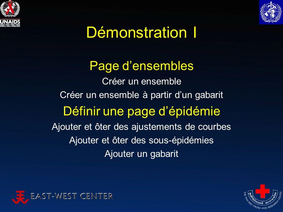 Démonstration I Page densembles Créer un ensemble Créer un ensemble à partir dun gabarit Définir une page dépidémie Ajouter et ôter des ajustements de