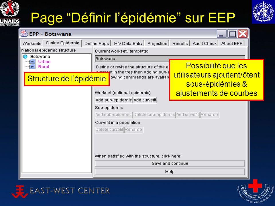 Page Définir lépidémie sur EEP Structure de lépidémie Possibilité que les utilisateurs ajoutent/ôtent sous-épidémies & ajustements de courbes