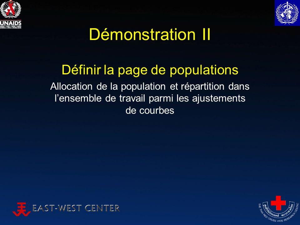 Démonstration II Définir la page de populations Allocation de la population et répartition dans lensemble de travail parmi les ajustements de courbes