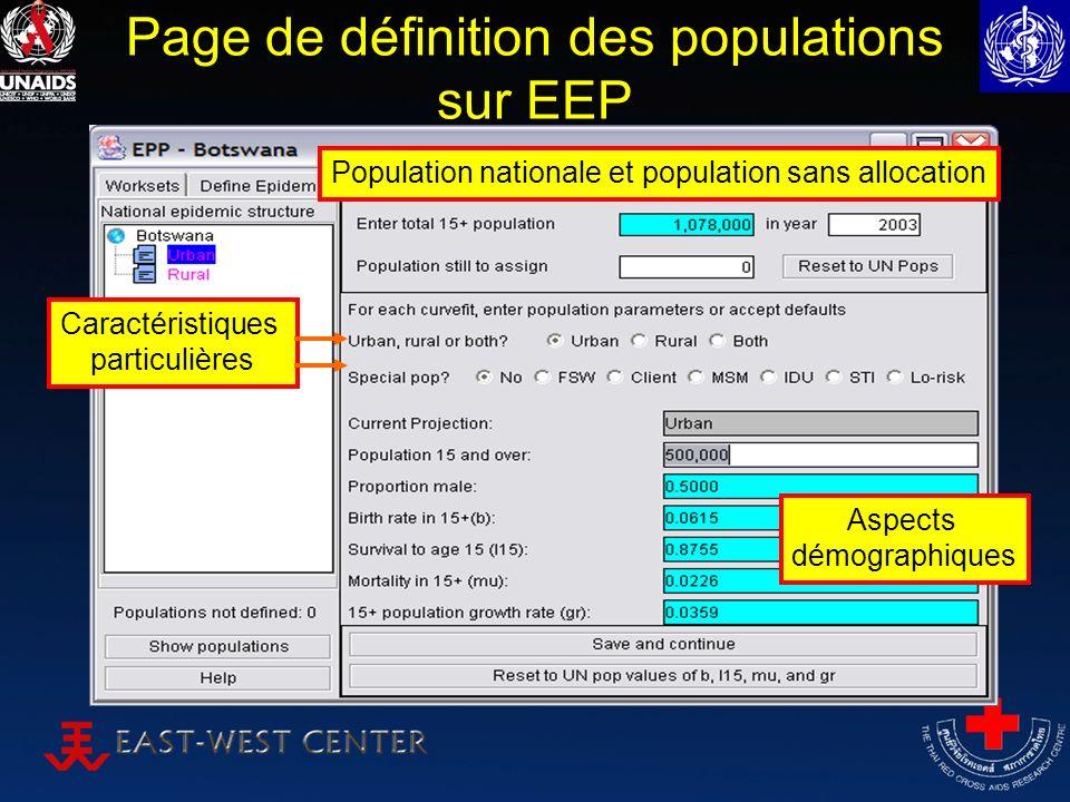 Page de définition des populations sur EEP Population nationale et population sans allocation Caractéristiques particulières Aspects démographiques