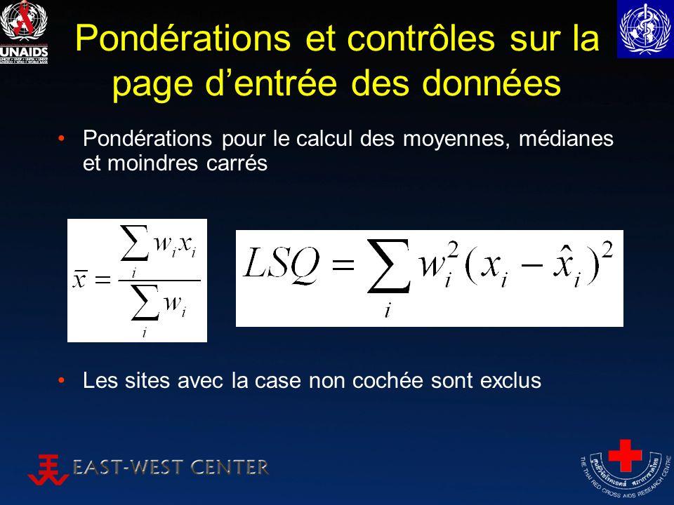 Pondérations et contrôles sur la page dentrée des données Pondérations pour le calcul des moyennes, médianes et moindres carrés Les sites avec la case non cochée sont exclus