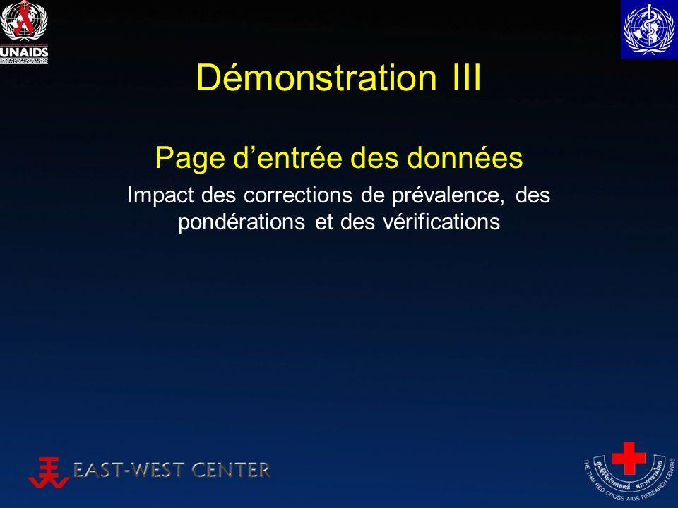 Démonstration III Page dentrée des données Impact des corrections de prévalence, des pondérations et des vérifications