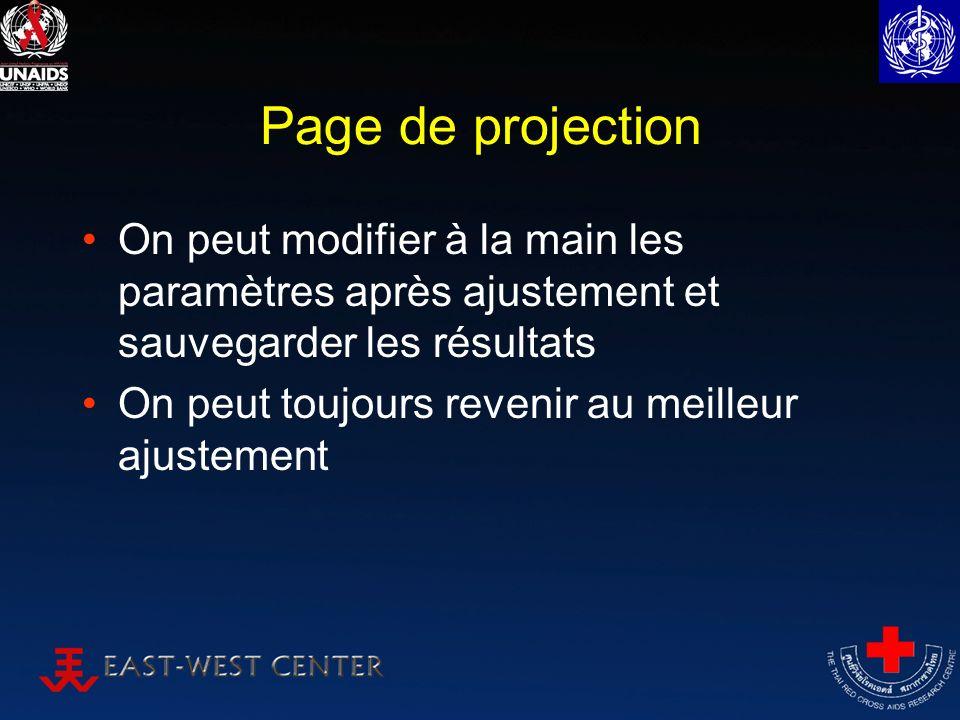 Page de projection On peut modifier à la main les paramètres après ajustement et sauvegarder les résultats On peut toujours revenir au meilleur ajuste