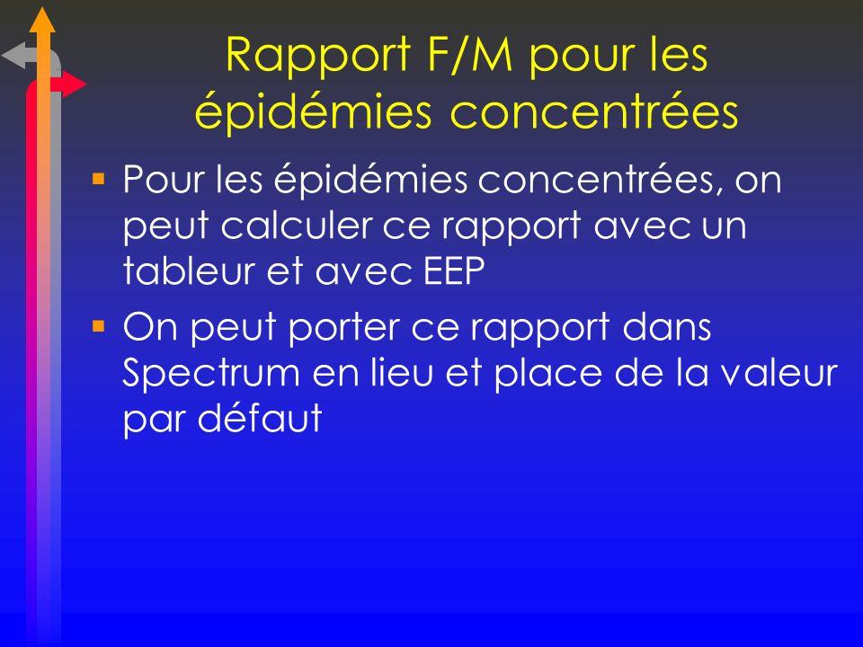 Rapport F/M pour les épidémies concentrées Pour les épidémies concentrées, on peut calculer ce rapport avec un tableur et avec EEP On peut porter ce r