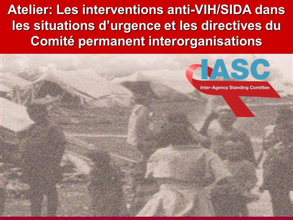 DRAFT 1.11.04 Atelier: Les interventions anti-VIH/SIDA dans les situations durgence et les directives du Comité permanent interorganisations