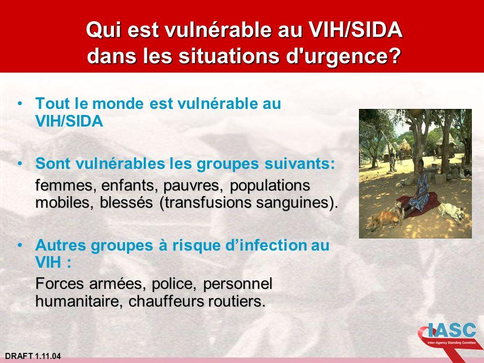 DRAFT 1.11.04 Qui est vulnérable au VIH/SIDA dans les situations d'urgence? Tout le monde est vulnérable au VIH/SIDA Sont vulnérables les groupes suiv