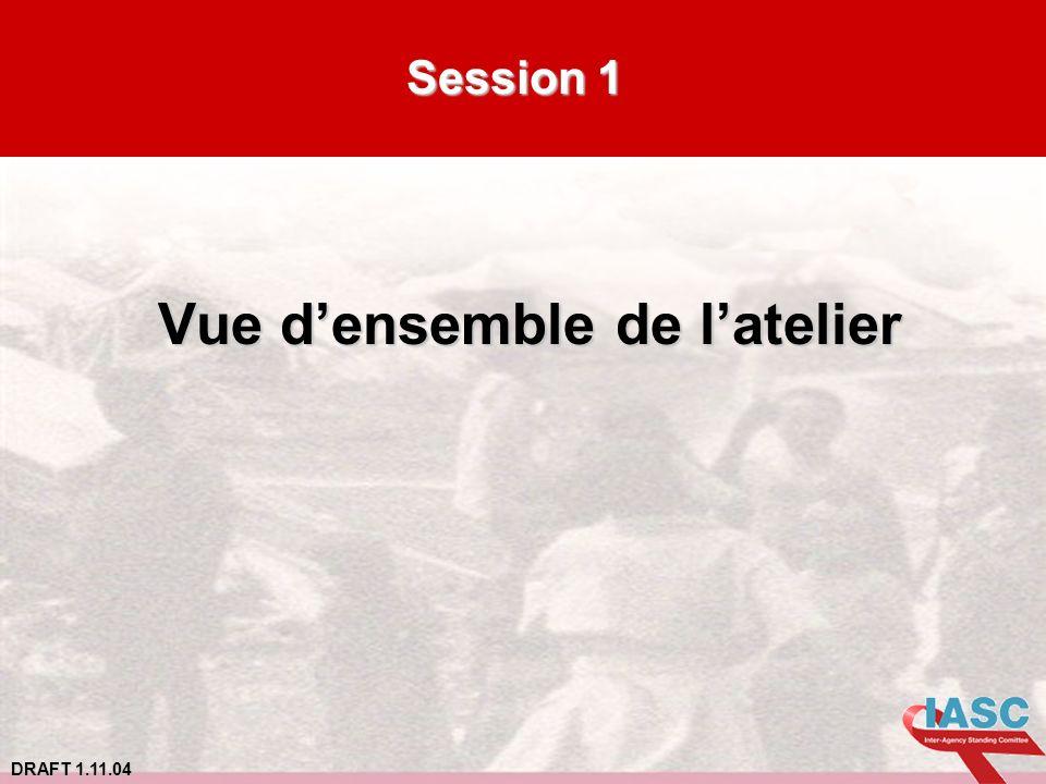 DRAFT 1.11.04 Session 1 Vue densemble de latelier Vue densemble de latelier