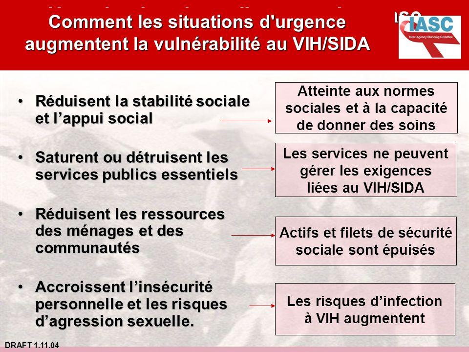 DRAFT 1.11.04 Atteinte aux normes sociales et à la capacité de donner des soins Les services ne peuvent gérer les exigences liées au VIH/SIDA Actifs e