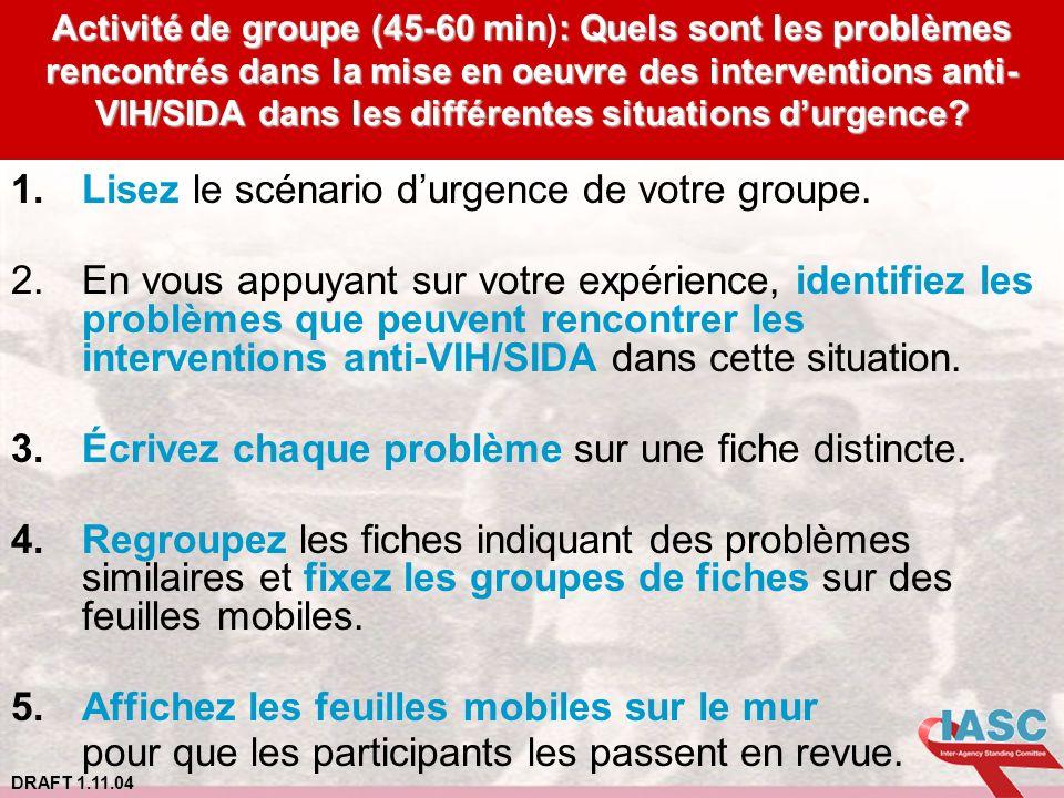 DRAFT 1.11.04 Activité de groupe (45-60 min: Quels sont les problèmes rencontrés dans la mise en oeuvre des interventions anti- VIH/SIDA dans les diff