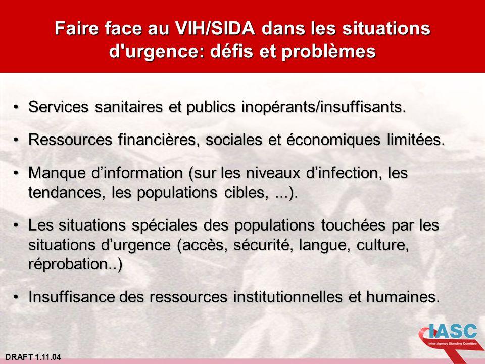 DRAFT 1.11.04 Faire face au VIH/SIDA dans les situations d'urgence: défis et problèmes Services sanitaires et publics inopérants/insuffisants.Services
