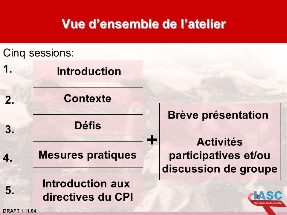 DRAFT 1.11.04 Vue densemble de latelier Cinq sessions: 1. 4. Contexte Défis Mesures pratiques Introduction aux directives du CPI + Brève présentation