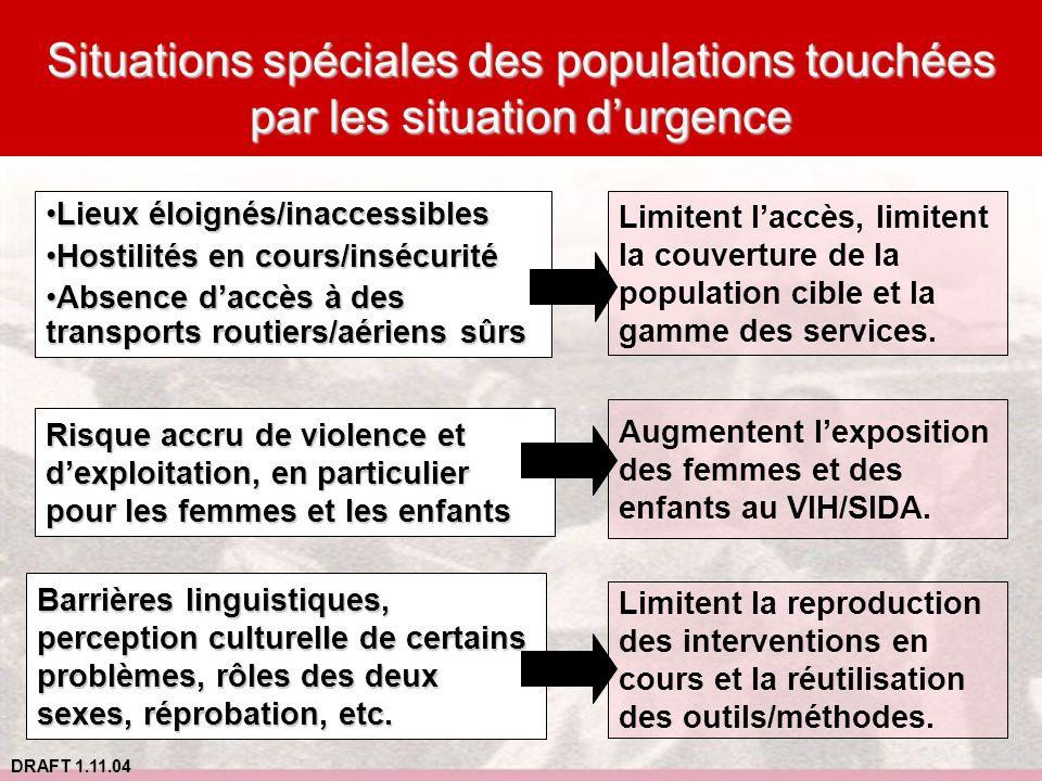 DRAFT 1.11.04 Situations spéciales des populations touchées par les situation durgence Lieux éloignés/inaccessiblesLieux éloignés/inaccessibles Hostil