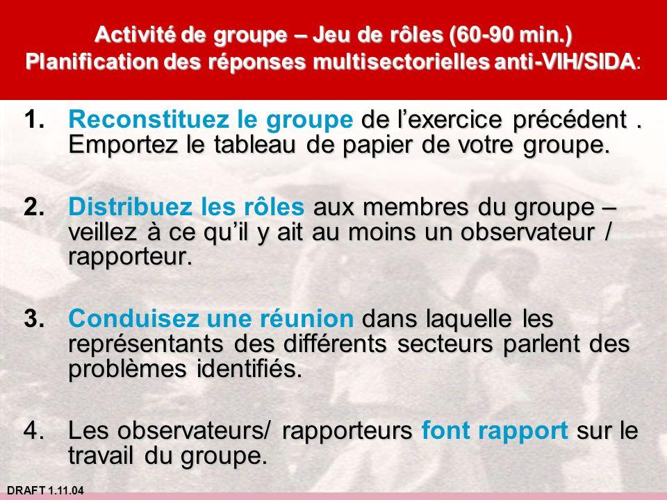 DRAFT 1.11.04 Activité de groupe – Jeu de rôles (60-90 min.) Planification des réponses multisectorielles anti-VIH/SIDA Activité de groupe – Jeu de rô