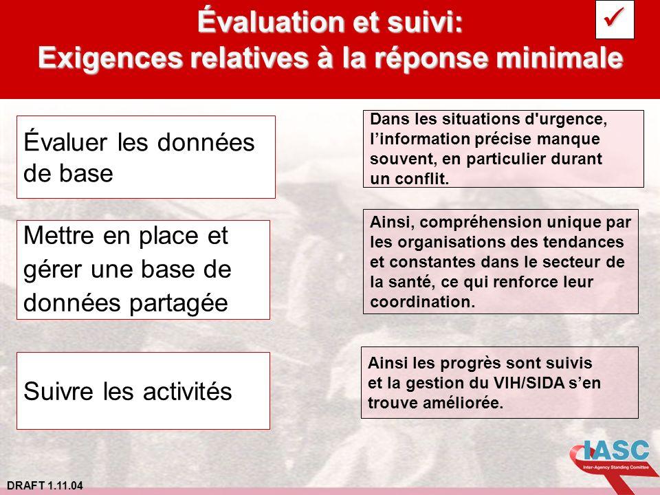 DRAFT 1.11.04 Évaluation et suivi: Exigences relatives à la réponse minimale Dans les situations d'urgence, linformation précise manque souvent, en pa