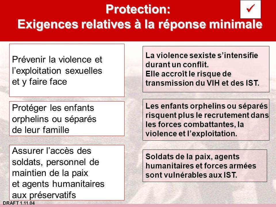 DRAFT 1.11.04 Protection: Exigences relatives à la réponse minimale Prévenir la violence et lexploitation sexuelles et y faire face Protéger les enfan