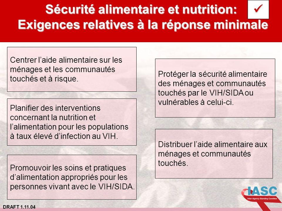 DRAFT 1.11.04 Sécurité alimentaire et nutrition: Exigences relatives à la réponse minimale Centrer laide alimentaire sur les ménages et les communauté