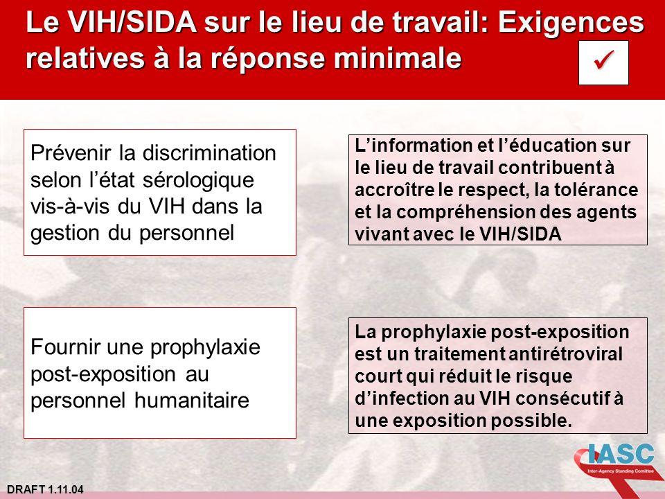 DRAFT 1.11.04 Le VIH/SIDA sur le lieu de travail: Exigences relatives à la réponse minimale Prévenir la discrimination selon létat sérologique vis-à-v