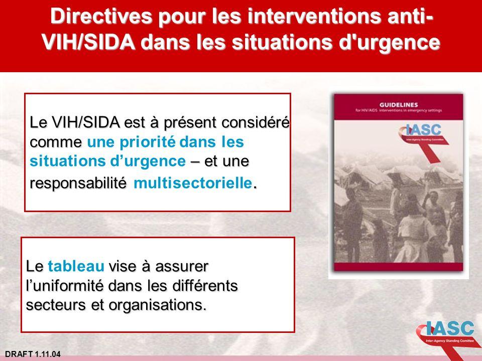DRAFT 1.11.04 Directives pour les interventions anti- VIH/SIDA dans les situations d'urgence Le VIH/SIDA est à présent considéré comme comme une prior