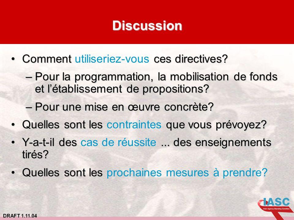 DRAFT 1.11.04 Discussion Comment ces directives?Comment utiliseriez-vous ces directives? –Pour la programmation, la mobilisation de fonds et létabliss