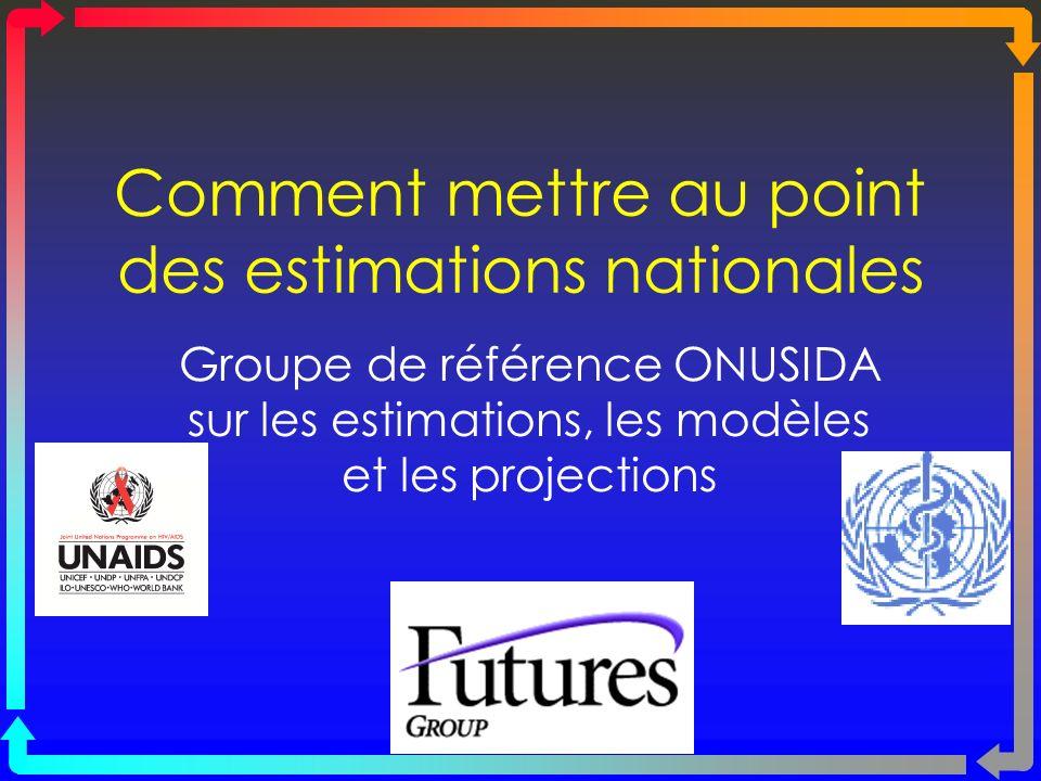 Comment mettre au point des estimations nationales Groupe de référence ONUSIDA sur les estimations, les modèles et les projections