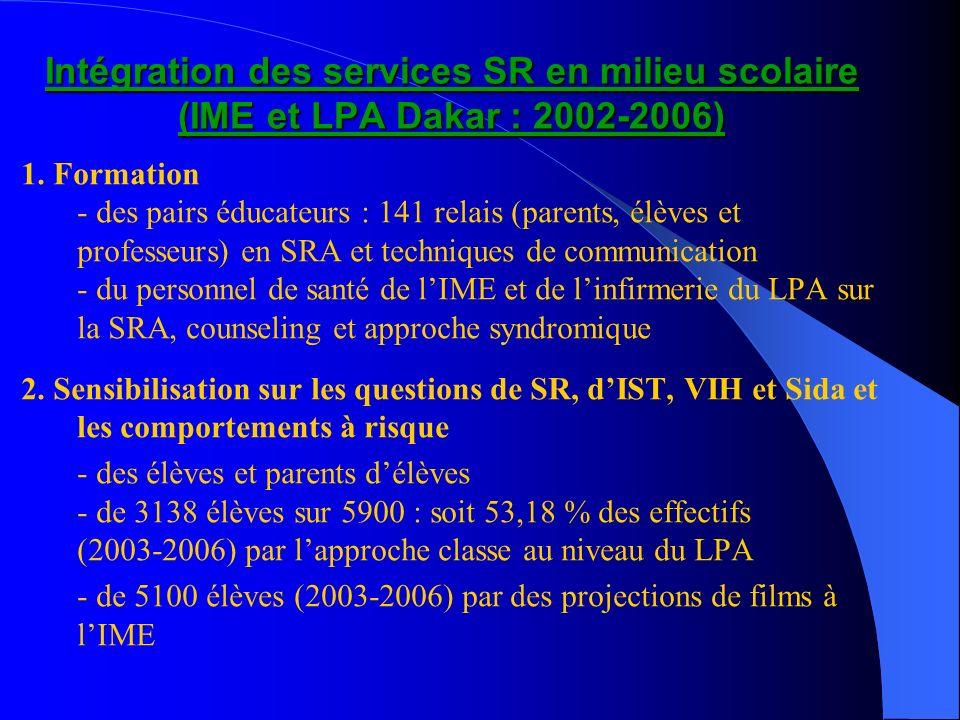 Intégration des services SR en milieu scolaire (IME et LPA Dakar : 2002-2006) 1. Formation - des pairs éducateurs : 141 relais (parents, élèves et pro