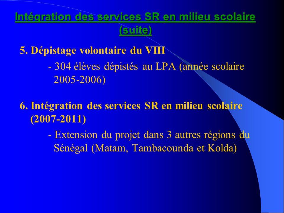 Intégration des services SR en milieu scolaire (suite) 5. Dépistage volontaire du VIH - 304 élèves dépistés au LPA (année scolaire 2005-2006) 6. Intég